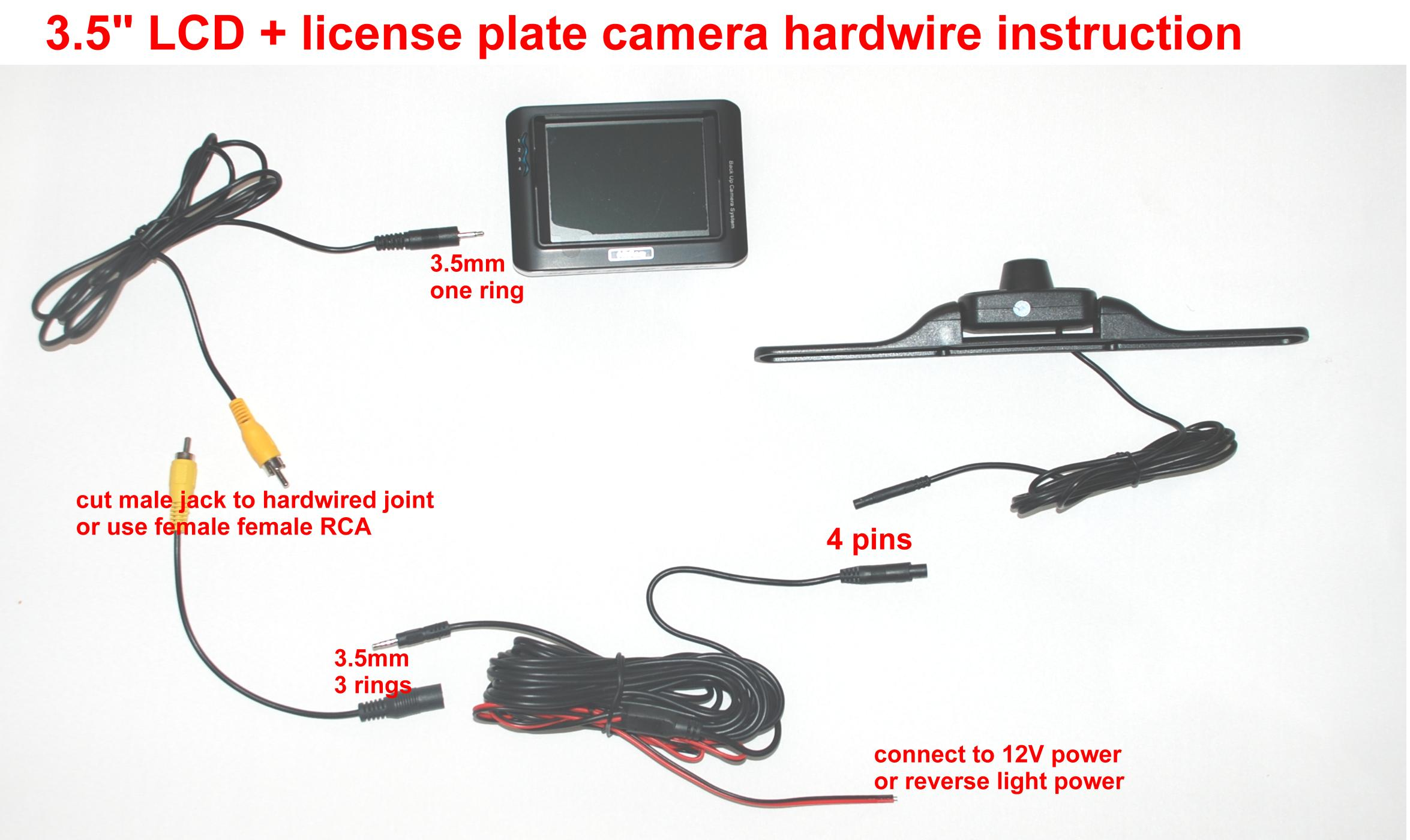 Wireless car backup camera 3.6 inch LCD Color Monitor and 2.4GHz ...