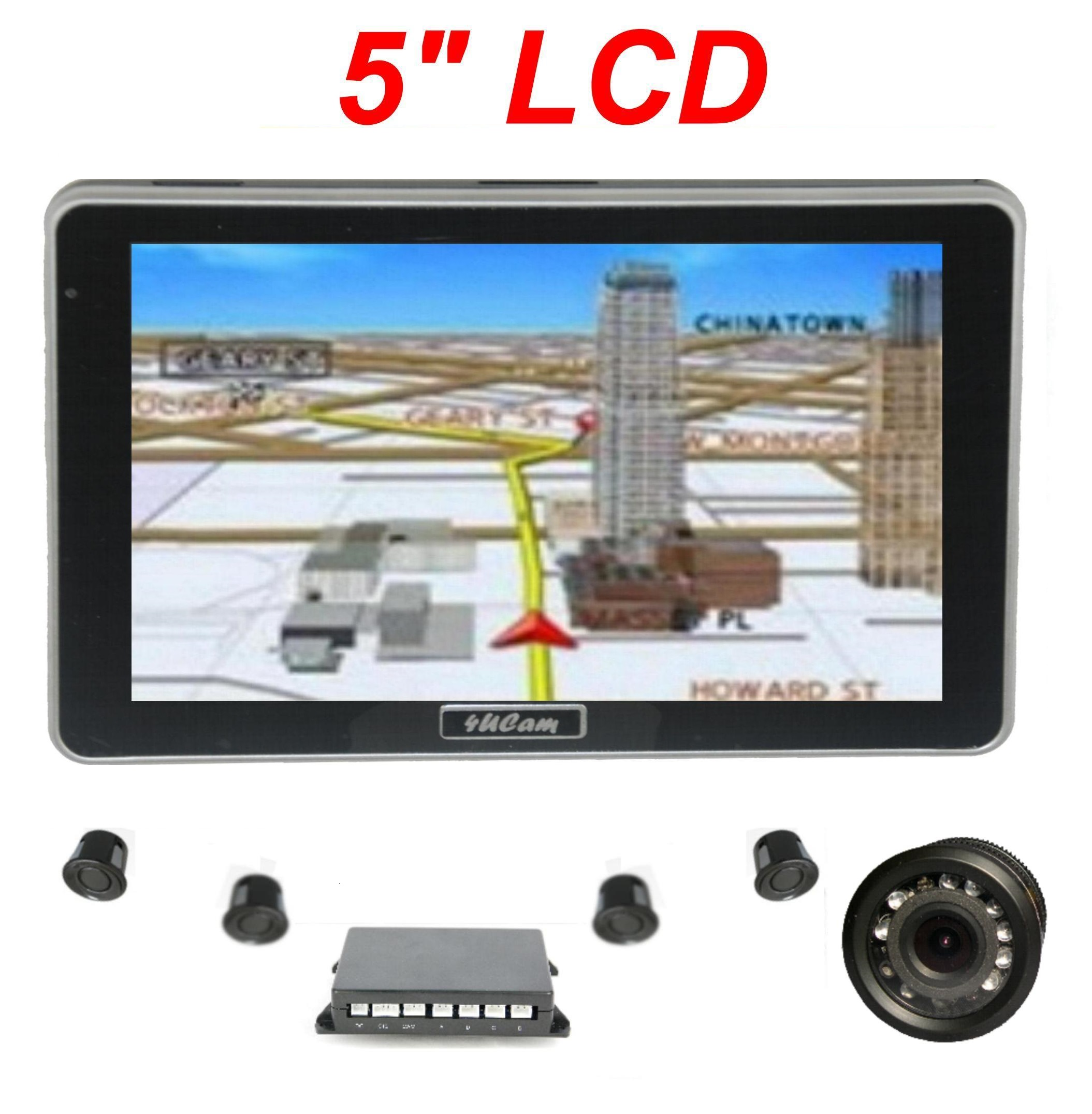 5 inch gps wireless backup camera parking sensor monitor rv truck trailer rear view backup. Black Bedroom Furniture Sets. Home Design Ideas