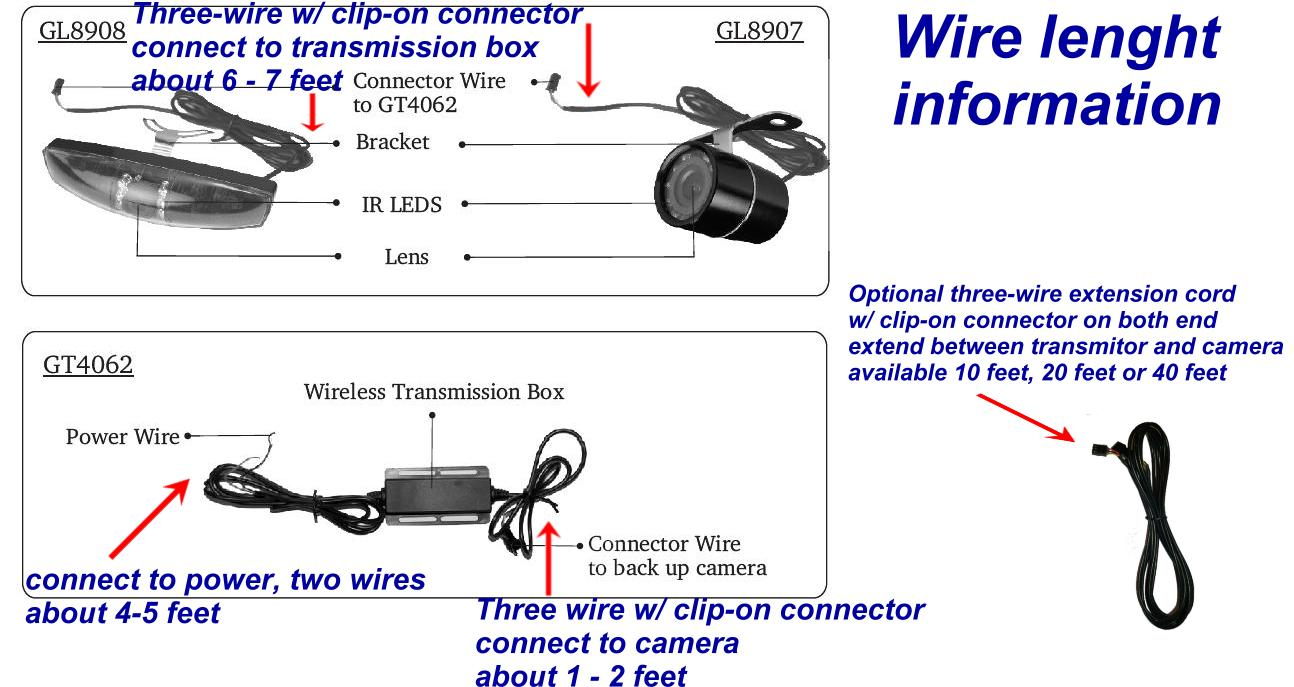 wire_lenght_info2 wireless car backup camera color monitor rv truck trailer rear wireless backup camera wiring diagram at suagrazia.org