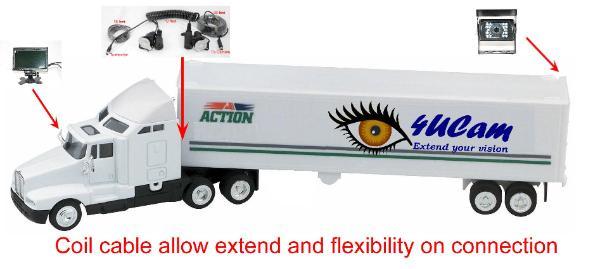 Wired Truck RV Quad Split screen backup CCD camera monitor Trailer ...